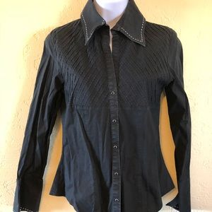 Scully black button down with white stitching